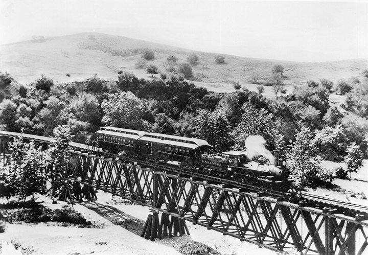 Highland Park CA Los Angeles and San Gabriel Railroad Train in Garvanza