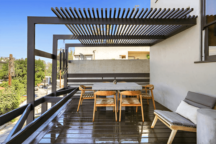 Deck of Studio for Rent at Sachs Apartments by Rudolf Schindler