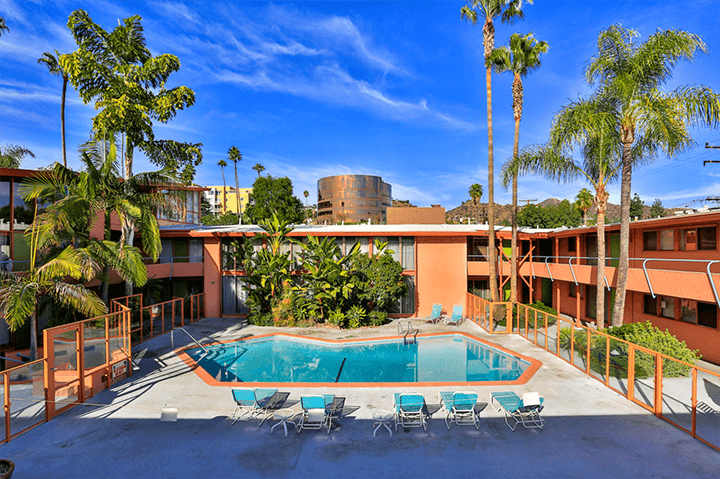 Poolside at the Hollywood Riviera Condo Complex by Ed Fickett
