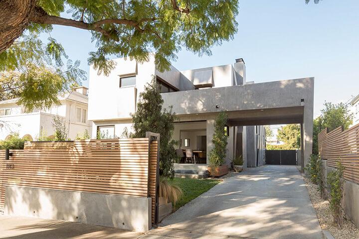 Modern home for sale on a tree-lined street in Los Feliz