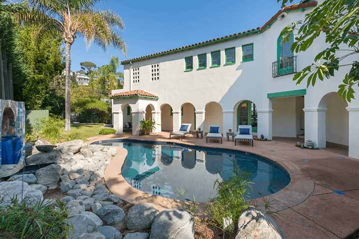 Outside an Andalusian-style residence for sale in Los Feliz