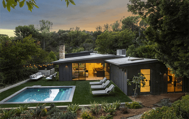 Newly landscaped and remodeled midcentury modern residence in Laurel Canyon