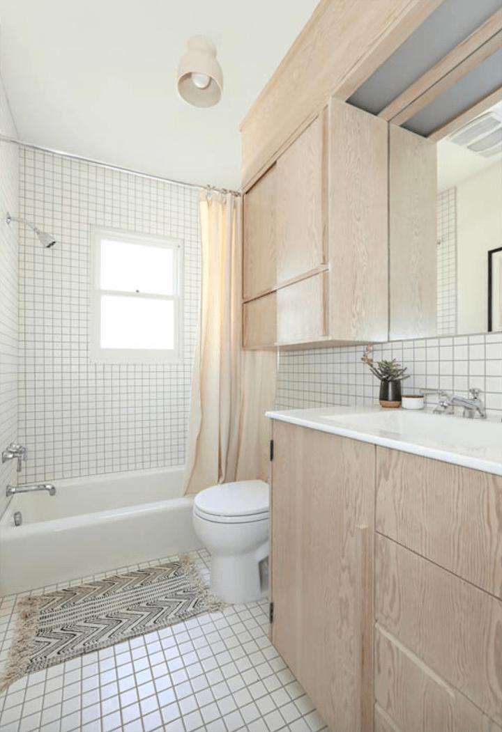 Tiled bathroom inside Rudolph Schindler's Manola Court aka Sachs Apartments in Silver Lake
