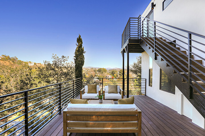 Outside deck of mid-century modern house for sale in Laurel Canyon