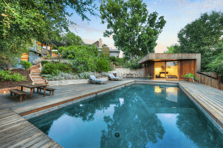 Silver Lake dwelling with a pool and guest house